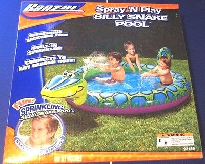 New - Banzai Spray 'n Splash Water Silly Snake Inflatable Pool Water Slide