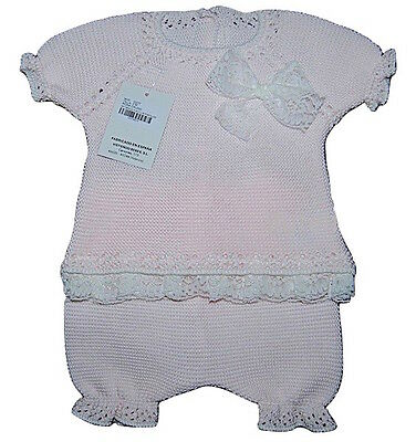 Baby Girls Spanish Knit & Lace Trim 2 Piece Top & Shorts Set Newborn-12 Month