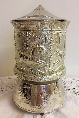 Beautiful Vintage Silver Plated Musical Carousel Money Box