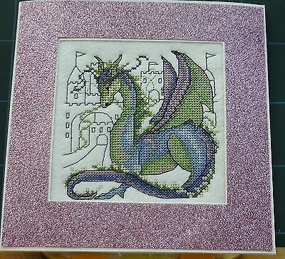 Machine Stitched Completed Cross Stitch 'Beautiful Mythical Dragon' ex lg card