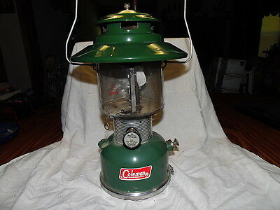 Vintage Coleman 228F Dual Mantle Lantern with Shield and Bottom Storage 12/68