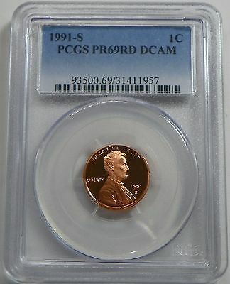 1991-S Proof Lincoln Cent Penny PCGS PR69RD DCAM - FREE SHIPPING