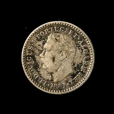 Portuguese India Silver 1/4 Tanga 1881 Toned Very Fine, One Year Type