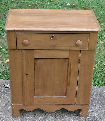 antique end table nightstand primitive butternut wood vintage arts and crafts
