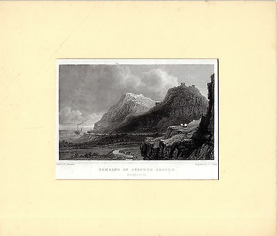 STEEL ENGRAVED GASTINEAU PRINT - REMAINS OF DYSERTH CASTLE, FLINTSHIRE (c.18400)