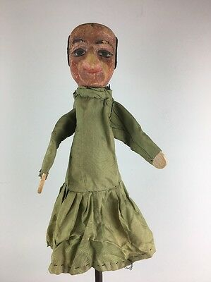 Antique Marionette Puppet - Carved Wood Head - French