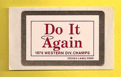 Vintage 1979 California Angels Western Division Champions Decal Sticker *RARE*