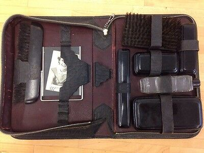 Vintage Mens Travel Toiletry Grooming Kit Zipper Carrying Case