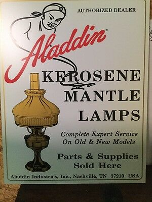 Aladdin Kerosene Lamps Sign. Brass light pictured with 601 shade