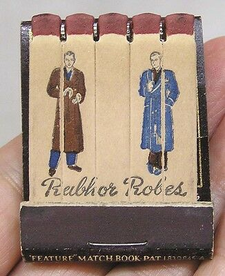 Vintage Feature Matchbook Rabhor Robes Men Wearing Bathrobes 1930s