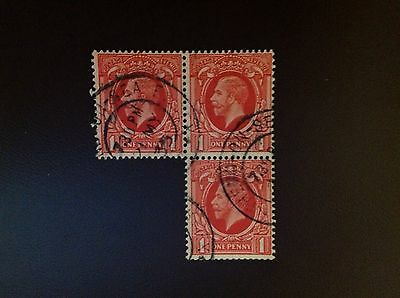 Great Britain 1934 1d Scarlet Wmk Inverted SGN49(2)a VFU Block of 3