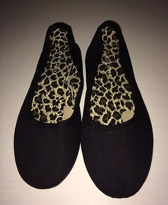 Brand New Ladies Black Miss Fiori Flat Shoes Dolly Shoes Size 6