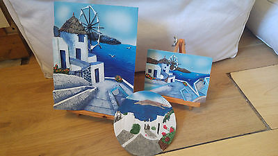 Three of 3D Hand Painted Greece Santorini Souvenir Resin Images with stands