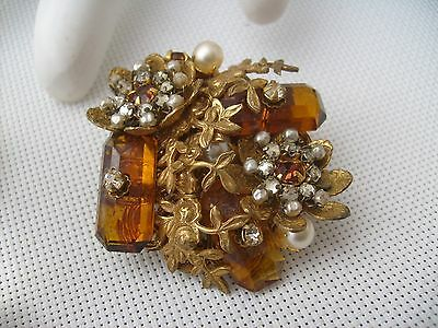 Miriam Haskell Yellow Topaz Rhinestone Faux Baroque Seed Pearl Brooch