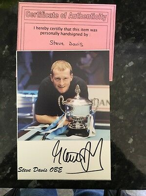 "Steve Davis Hand-Signed PR Photo Card Snooker Champion 7""x5"" Approx"