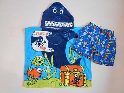 Mothercare Swim Shorts & Hooded Towelling Poncho Age 12-18 Months