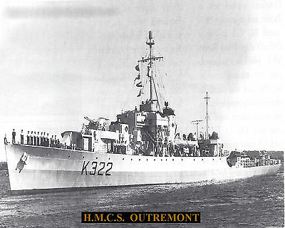 Royal Canadian Navy Frigate Hmcs Outremont K322  Photo With Bonus Stat Sheet