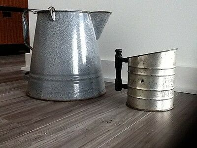 Vintage Gray Granite Large Coffee Pot Kettle And Perfect Old Flour Sifter