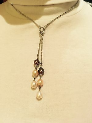 "Sterling silver 17"" necklace with 6 drop pearls"