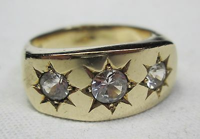 Vintage Chunky 9ct 375 Solid Gold Mens Gypsy Three Stone White Sapphire Ring