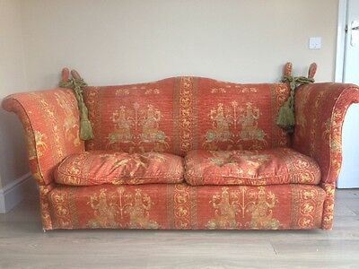 fabulous vintage parker knoll sofa with drop arms and tassels