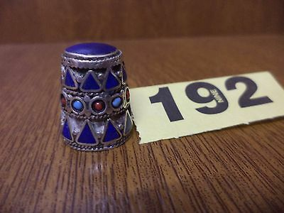 Danish Solid Silver Enamel Thimble with Blue Stone Top