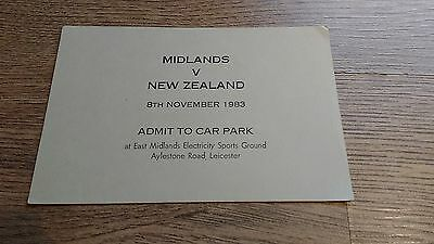 Midlands v New Zealand 1983 Used Rugby Car Park Pass