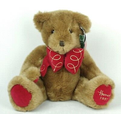 "Harrods London Large Annual CHRISTMAS BEAR 1997 Knightsbridge 13"" Red BOW TIE"