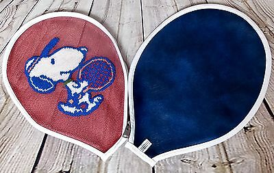 Vintage 1958 Snoopy Embroidered Tennis Racket Zip Cover - Sport Peanuts