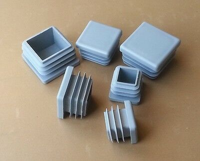 Square Plastic End Caps Blanking Plugs Tube Pipe Box Section Inserts / Grey