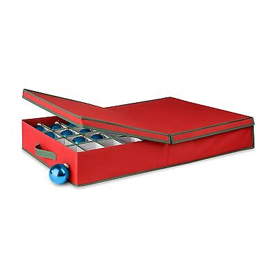 Honey-Can-Do SFT-01597 Ornament Storage Box with Movable Dividers Holiday Red