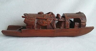 Antique Chinese Bamboo Brush Pot Holder Hand Carved Junk Boat