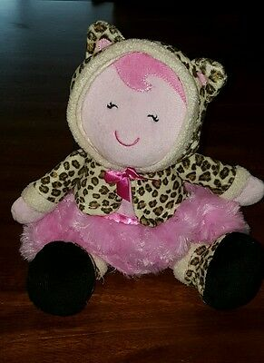 First Baby Plush Doll Toy Animal Print Outfit Pink Tutu Soft Cuddly Infant Girl