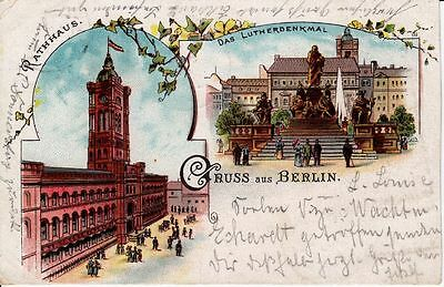 Litho Berlin, Lutherdenkmal, Rotes Rathaus, 1906