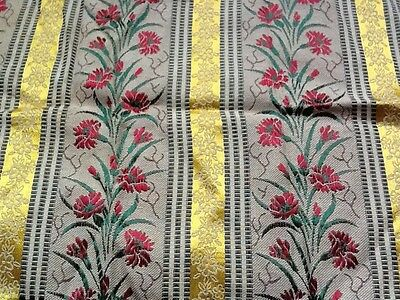 Vintage material piece - brocade / satin. 12 inches deep by 48 inches wide.