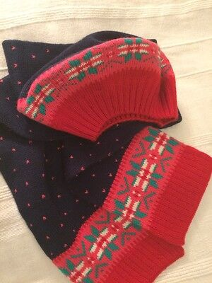 MINI BODEN Girls Set of Hat And Scarf Blue&Red 7-10 years