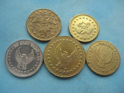 5 X Different Gold & Silver Eagle Coloured Tokens  Coins