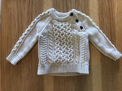 Baby Gap Cable Knit Fisherman Cream Pullover Sweater 12- 18 Months