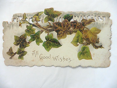 Vintage Early 1900's Christmas Card Raphael Tuck And Sons Leaves Rare
