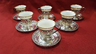 Lenox Demitasse Cups and Saucers - Set of 6 - Whiting Sterling Silver