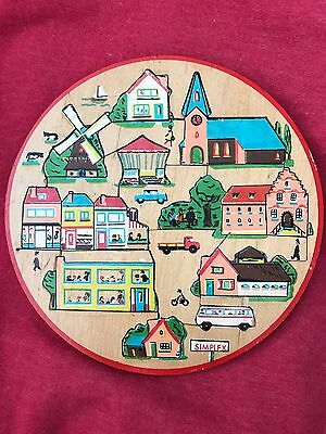 Vintage Wooden Puzzle Simplex Dutch Village/Town. From Holland. 20 Pieces