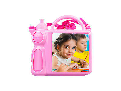 Personalized Children's Lunchbox with Water Bottle and Handle - Pink color