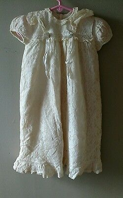Vintage/Antique Lace Baby Dress Christening  Ivory Gown Doll