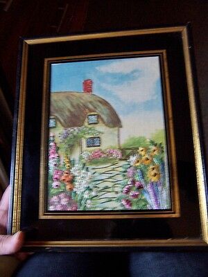 Antique Embroidered Cottage Garden Framed painting Embroidery Irish cottage