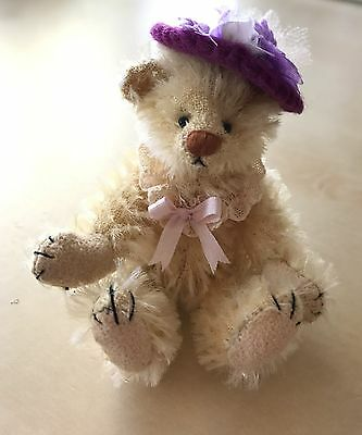 "Deb Canham 3.5"" RARE Little Miss Prim Miniature Mohair Bear"