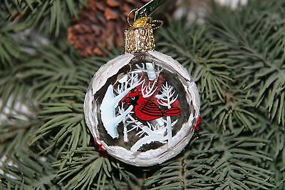 *Inside Art - Winter Cardinals* Bird Old World Christmas Glass Ornament - NEW