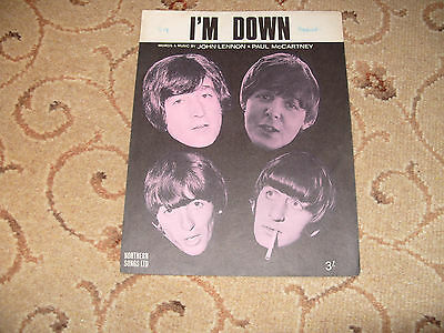 """SHEET MUSIC. """" I'M DOWN """" BY THE BEATLES.1960,s POP."""