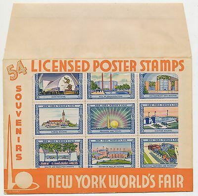 Worlds Fair New York 1939 Licensed Poster Stamps (Sheet of 54) Cinderella labels