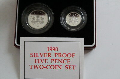 1990 Silver Proof Five Pence 5p Two Coin Set