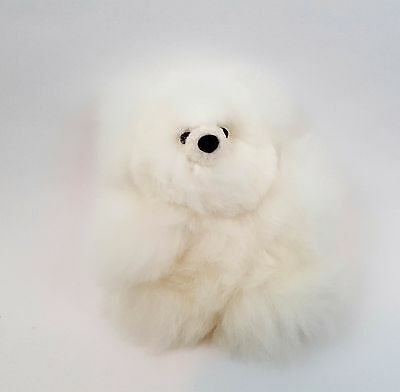 Handmade White 6 In/15cm Mini Teddy Bear with Authentic Baby Alpaca Fur